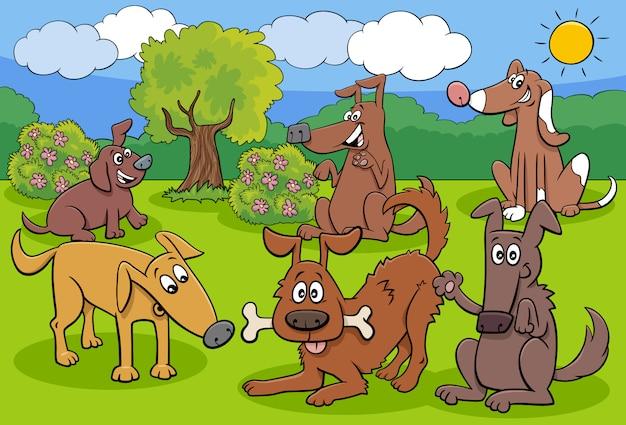 Gruppo di personaggi dei cartoni animati allegri cani e cuccioli