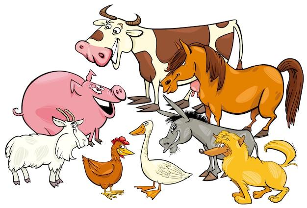 Gruppo di personaggi dei cartoni animati degli animali della fattoria