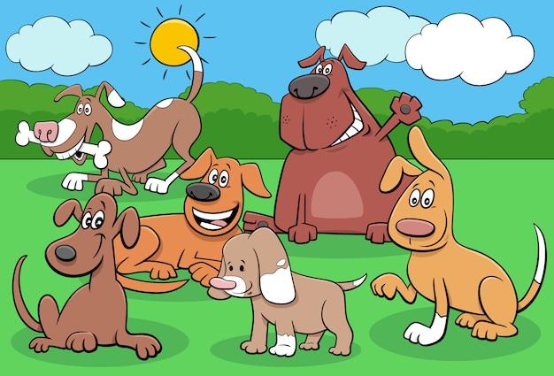 Gruppo di personaggi dei cartoni animati di cani e cuccioli felici