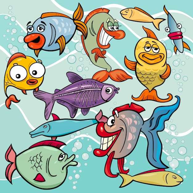 Gruppo di personaggi dei cartoni animati di pesce divertente
