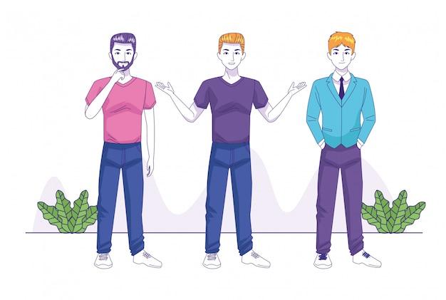 Gruppo di personaggi di avatar di giovani uomini