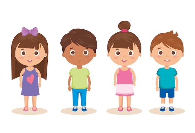 Gruppo di personaggi di bambini piccoli