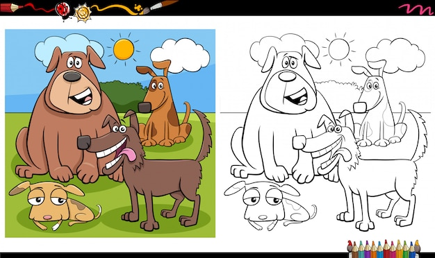 Gruppo di personaggi di cani divertenti da colorare pagina del libro