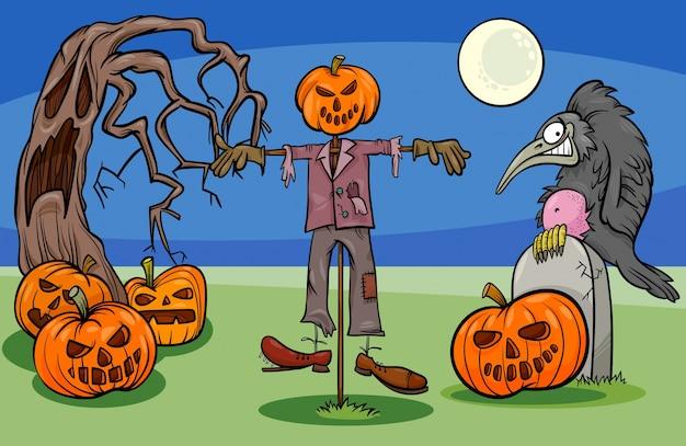Gruppo di personaggi di halloween cartoon spooky