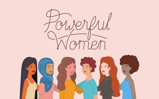 Gruppo di personaggi femminili con messaggio femminista