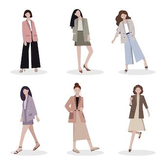 Gruppo di personaggi femminili in giacca e cravatta
