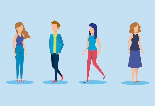 Gruppo di personaggi giovani