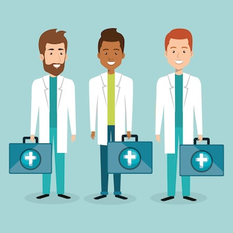 Gruppo di personale medico con personaggi kit