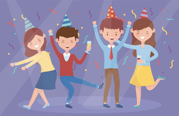 Gruppo di persone che ballano festeggiare