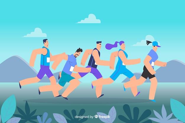 Gruppo di persone che corrono insieme illustrato
