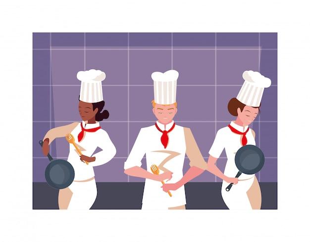 Gruppo di persone che cucinano, set di chef con uniforme bianca