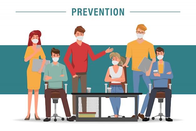 Gruppo di persone che indossano maschera protettiva come personaggio dei cartoni animati di protezione.