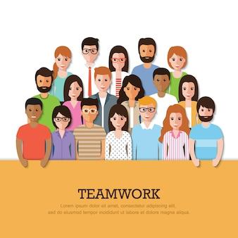 Gruppo di persone che lavorano con banner