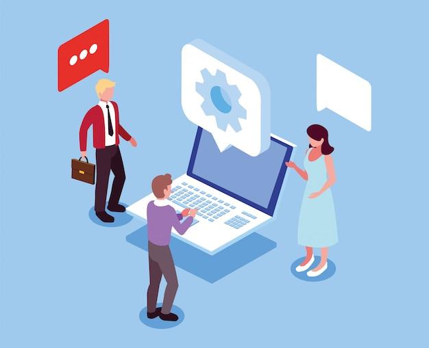 Gruppo di persone che lavorano davanti al computer portatile