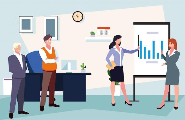 Gruppo di persone che lavorano in ufficio, lavoro coordinato in un team amichevole in ufficio