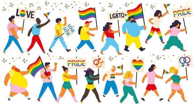 Gruppo di persone che marciano in una dimostrazione per pride day. persone che portano bandiere e cartelli arcobaleno con messaggi di orgoglio e che supportano slogan dello stesso sesso.