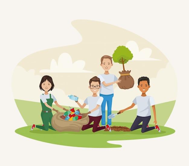 Gruppo di persone che piantano nel campo