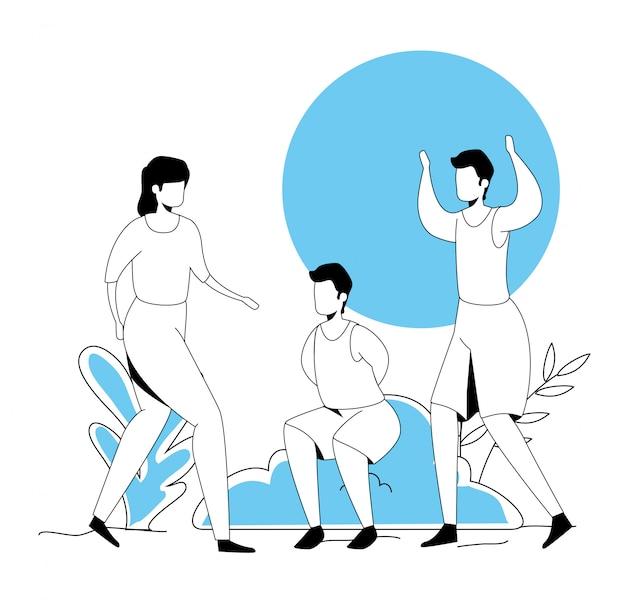 Gruppo di persone che praticano esercizio fisico