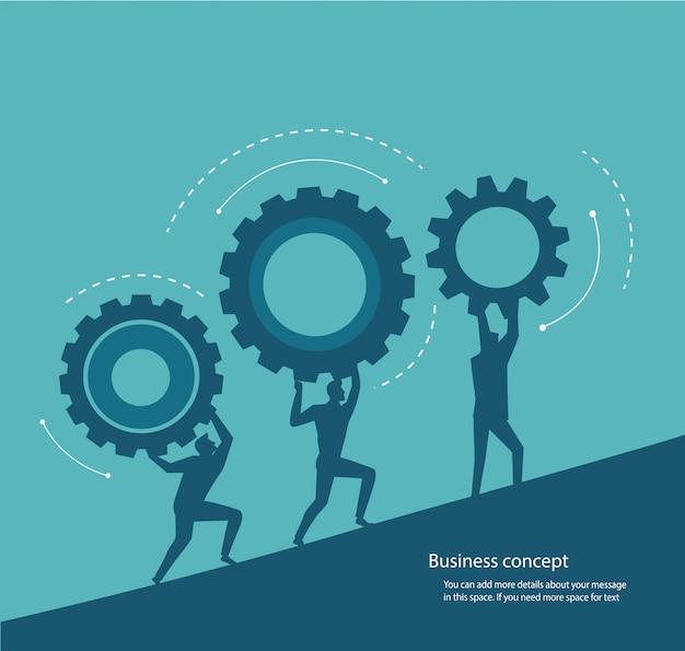 Gruppo di persone che tengono il concetto di ingranaggi dell'innovazione