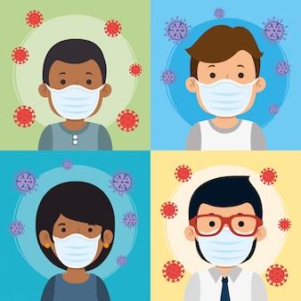 Gruppo di persone che usano la maschera per la pandemia di covid19
