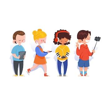 Gruppo di persone che utilizzano dispositivi tecnologici