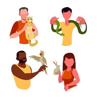 Gruppo di persone con diversi animali domestici concetto