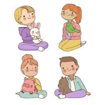 Gruppo di persone con diversi animali domestici