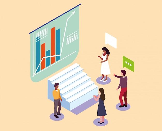 Gruppo di persone con grafici di fronte, processi di lavoro aziendali e brainstorming