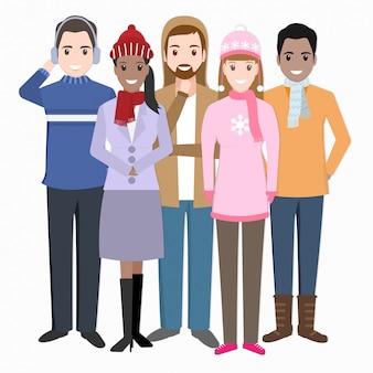 Gruppo di persone con l'illustrazione dell'icona del costume di inverno