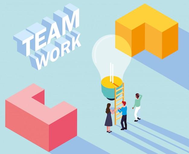 Gruppo di persone con lampadina, lavoro di squadra