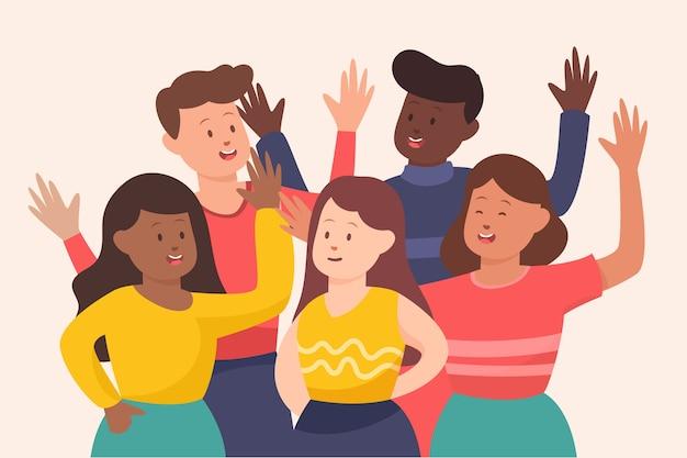 Gruppo di persone con le mani in alto