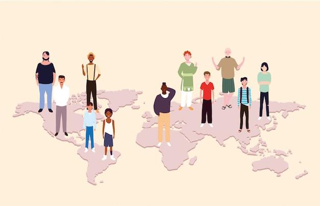 Gruppo di persone con mappa della terra