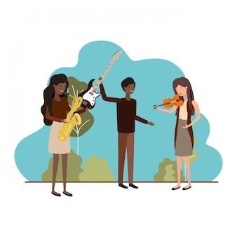 Gruppo di persone con strumenti musicali nel paesaggio