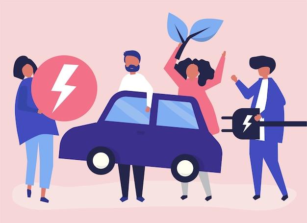 Gruppo di persone con un'auto elettrica