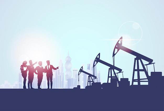 Gruppo di persone d'affari oil industry business pump pump petrol banner