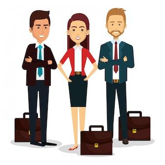 Gruppo di persone di affari con l'illustrazione di lavoro di squadra del portafoglio