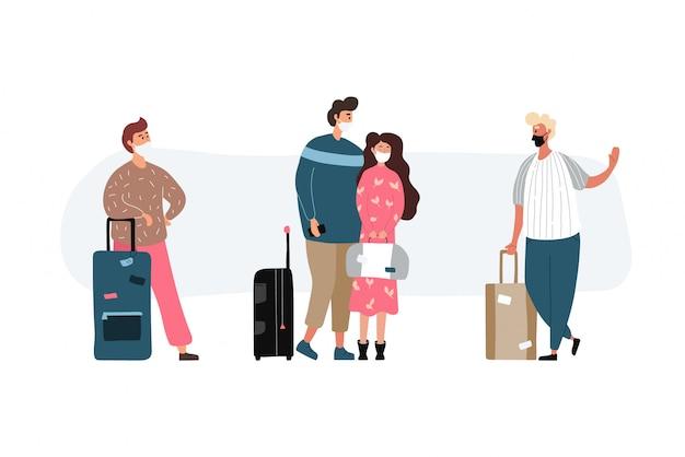 Gruppo di persone di viaggio con maschere mediche. uomini e donne che indossano protezione dai virus. giovani turisti che viaggiano con zaini e borse, valigie. illustrazione in uno stile piatto.