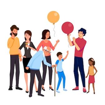 Gruppo di persone diverse per età