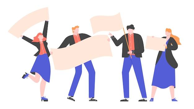 Gruppo di persone in giacca e cravatta con bandiere e manifesti. dimostrazione, protesta o presentazione di un prodotto. pubblicità e annuncio. illustrazione piatta.