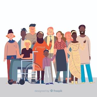 Gruppo di persone multirazziale design piatto