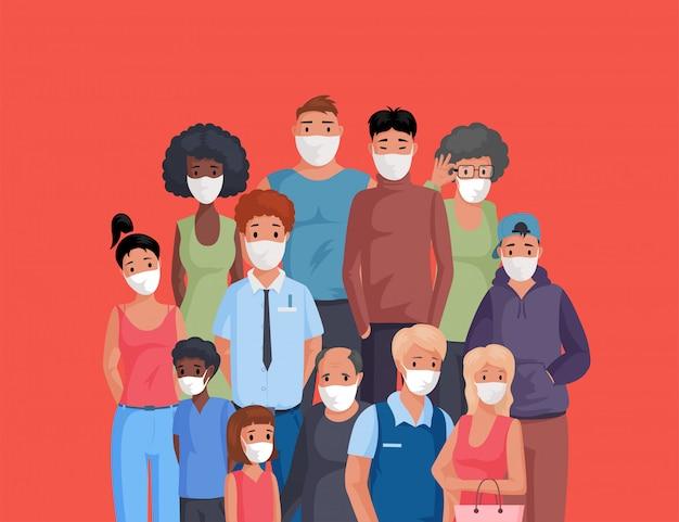 Gruppo di persone multirazziale e multiculturale che stanno insieme e che indossano l'illustrazione del fumetto delle maschere di protezione.