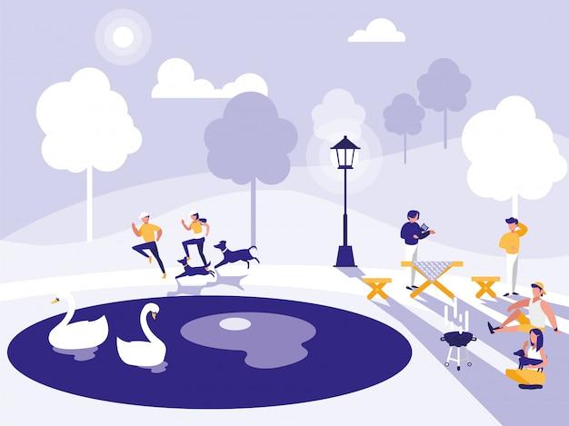 Gruppo di persone nel parco