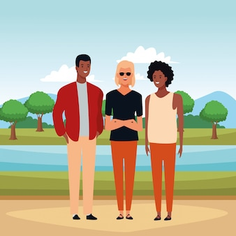 Gruppo di persone personaggio dei cartoni animati avatar