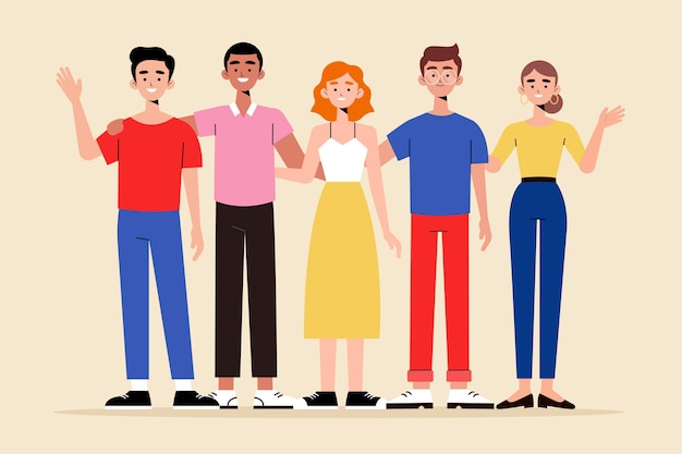 Gruppo di persone raccolta di illustrazioni