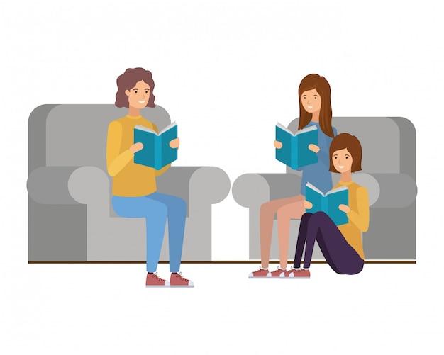 Gruppo di persone sedute sulla sedia con il libro in mano