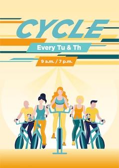 Gruppo di persone senza volto su cyclette in classe di spinning
