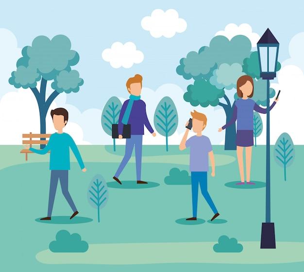 Gruppo di persone sul parco
