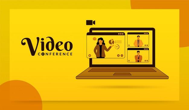 Gruppo di persone sullo schermo del laptop che prendono insieme, concetto di videoconferenza