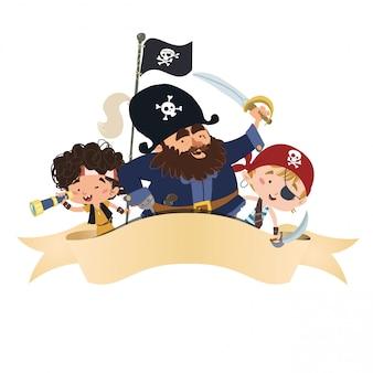 Gruppo di pirati con una banda