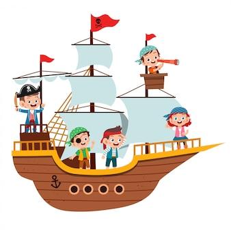 Gruppo di pirati del fumetto su una nave al mare
